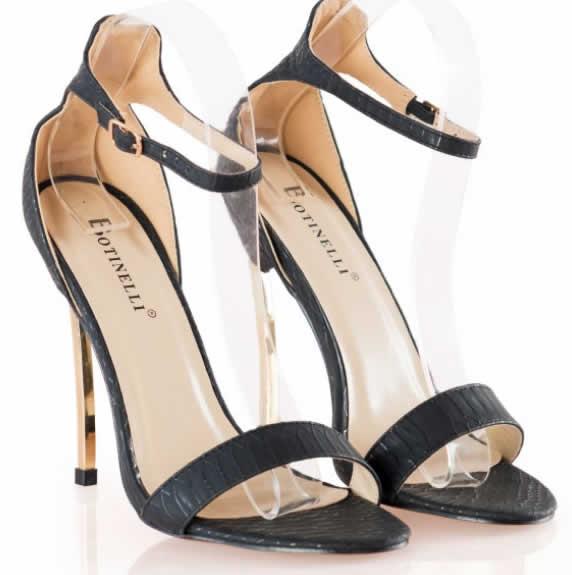 Sandale negre de dama cu toc inalt metalic