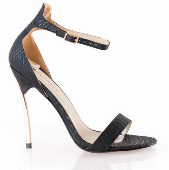 Sandale negre de dama cu toc inalt