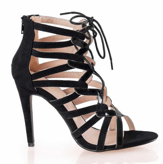 Sandale negre de dama cu toc si siret