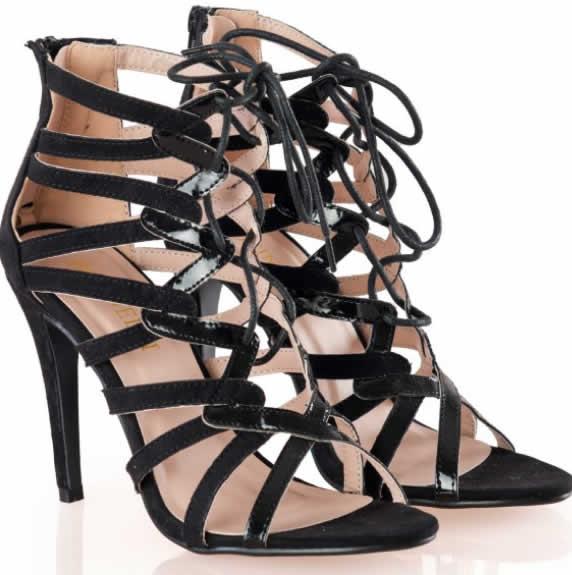 Sandale negre de dama elegante cu toc