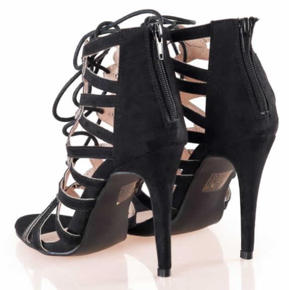 Sandale negre de dama inalte cu siret