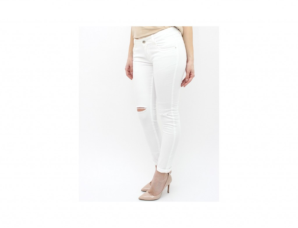 blugi albi skinny ieftini rupti in genunchi