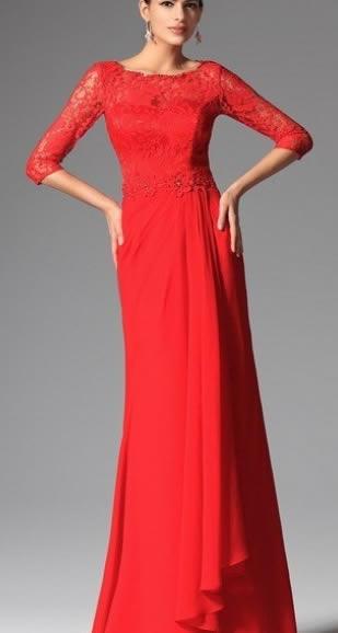 rochie rosie deosebita din voal si dantela lunga