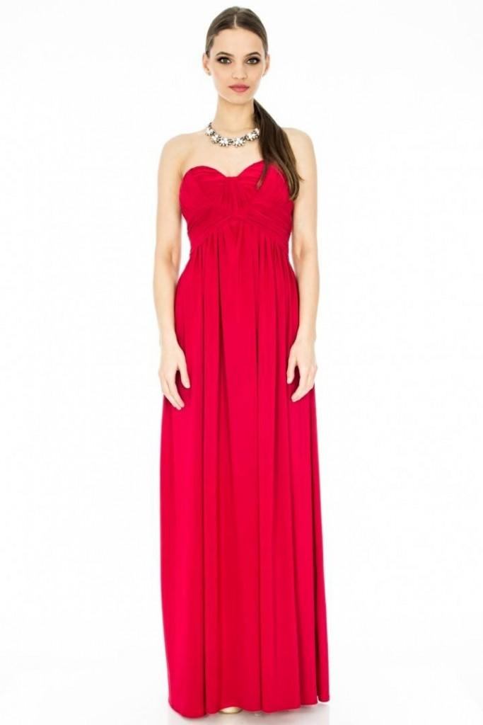 rochie rosie lunga de botez