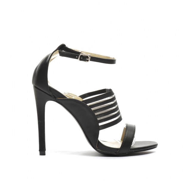 sandale cu toc negre elegante
