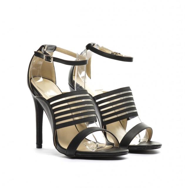 sandale elegante negre cu toc