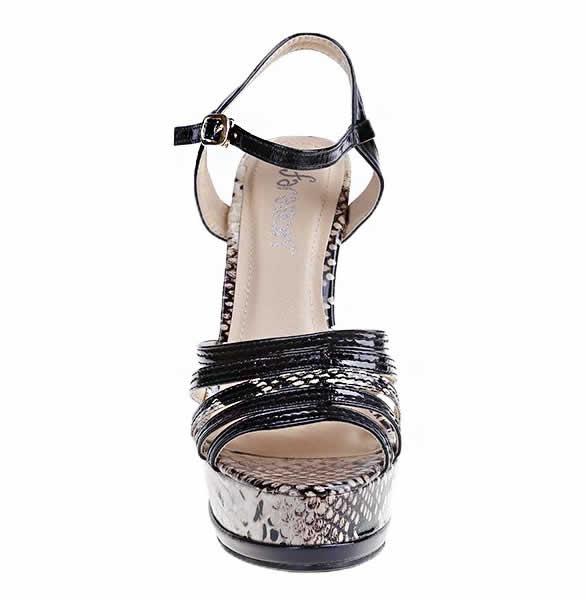 sandale negre cu toc si paltforma elegante