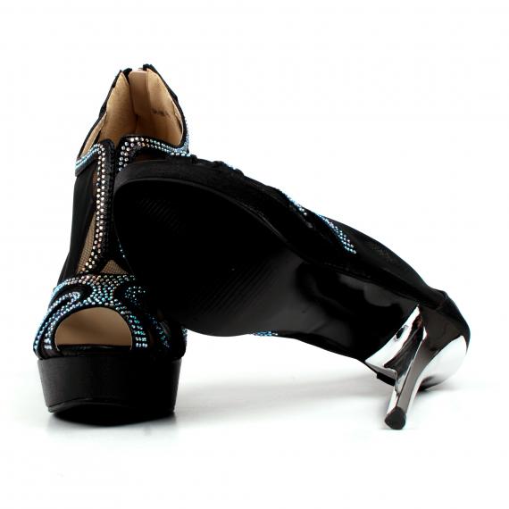sandale negre de ocazie cu strasuri