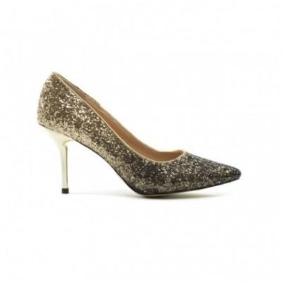 pantofi aurii eleganti cu sclipici