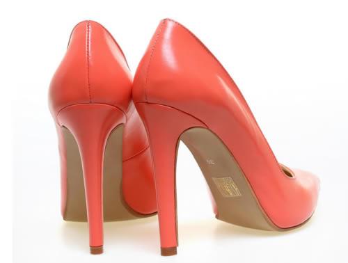 pantofi corai stiletto piele naturala