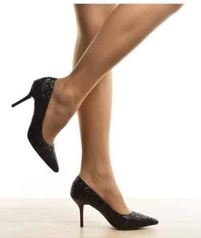 pantofi cu sclipici negri eleganti