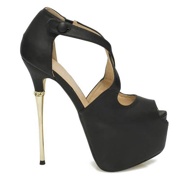 pantofi de dama eleganti cu toc cui si platforma negri