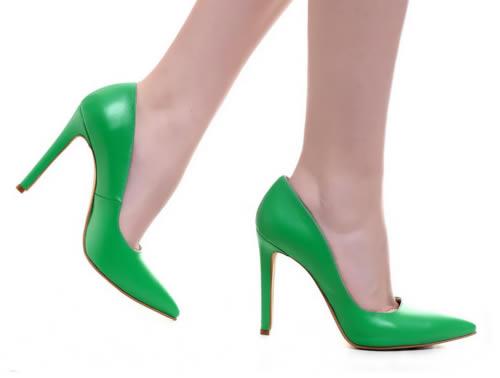 pantofi de dama verzi din piele