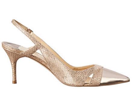 pantofi eleganti aurii cu varf metalic