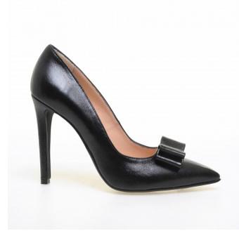 pantofi negri stiletto din piele