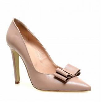 pantofi stiletto nude din piele cu fundita