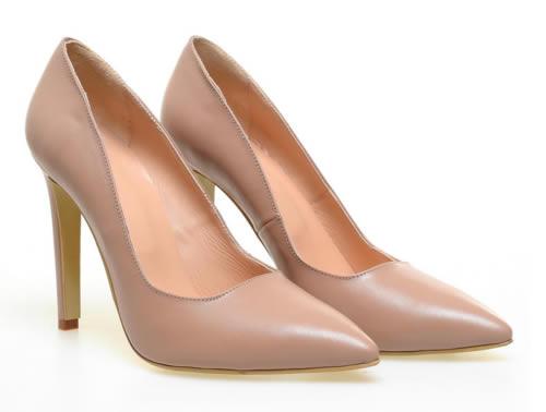 pantofi stiletto nude din piele