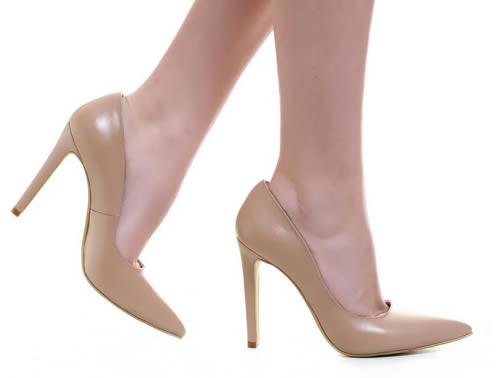 pantofi stiletto piele nude toc inalt