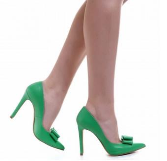 pantofi stiletto verzi din piele naturala