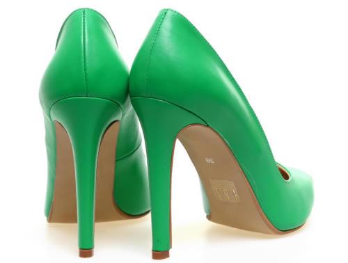pantofi stiletto verzi piele naturala