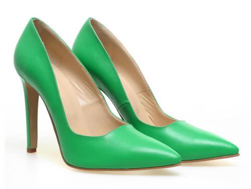 pantofi stiletto verzi piele