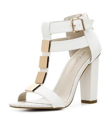 sandale albe aldo cu toc gros fara paltforma