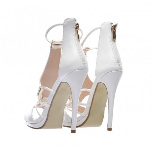 sandale albe cu toc cui foarte inalte