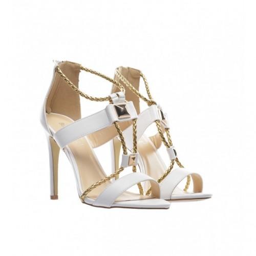 sandale albe cu toc cui