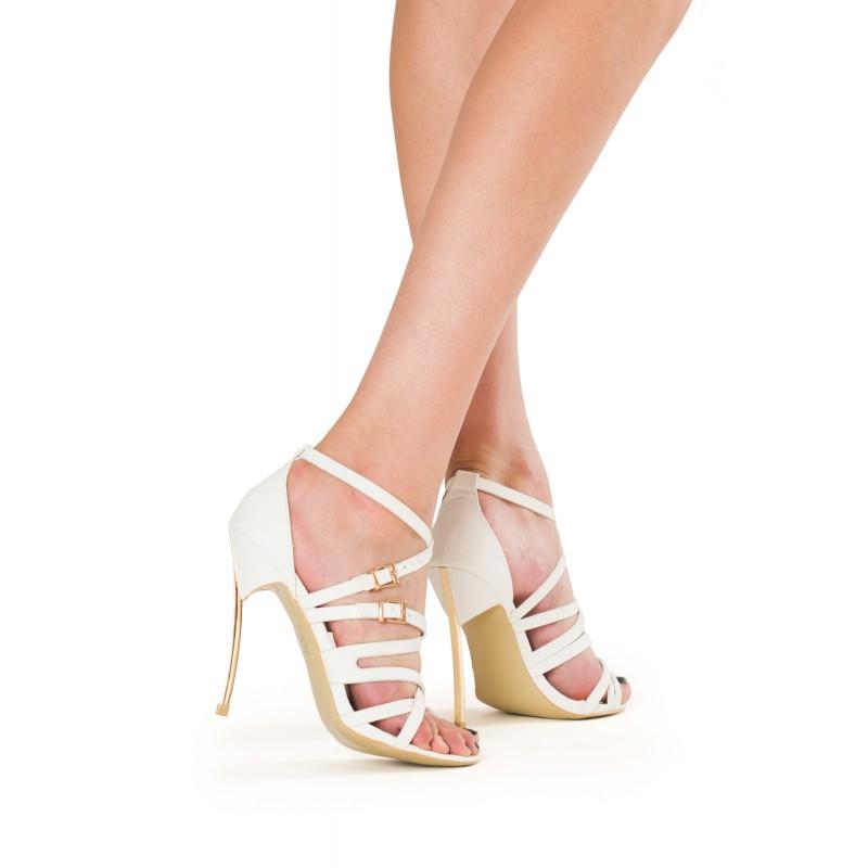 sandale albe cu toc elegante