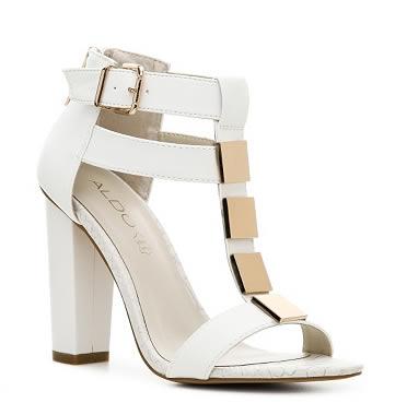 sandale albe cu toc gros aldo