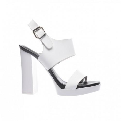 sandale albe cu toc gros