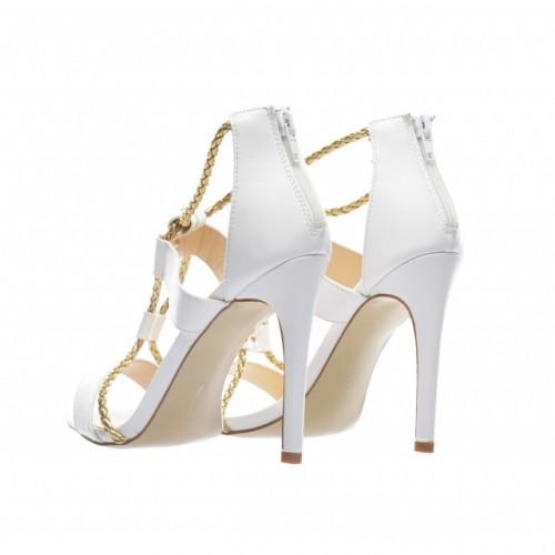 sandale albe cu toc inalt