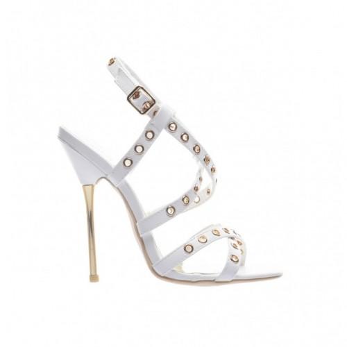 sandale albe cu toc metalic