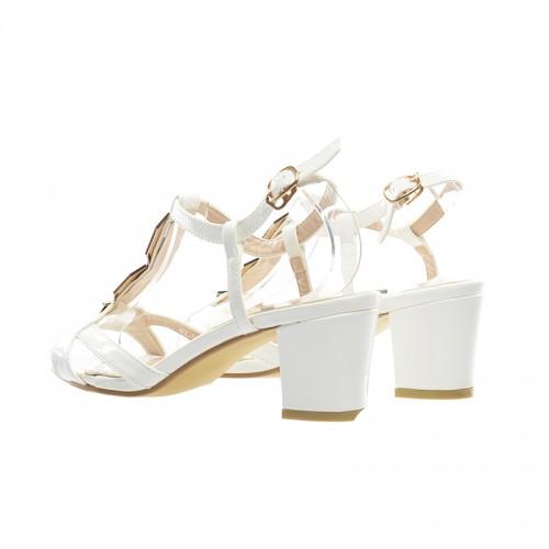 sandale albe cu toc patrat jos