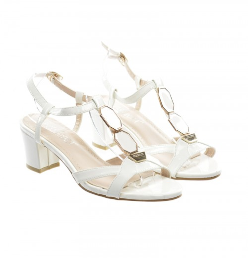 sandale albe cu toc patrat