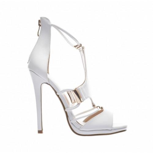 sandale albe cu toc stiletto