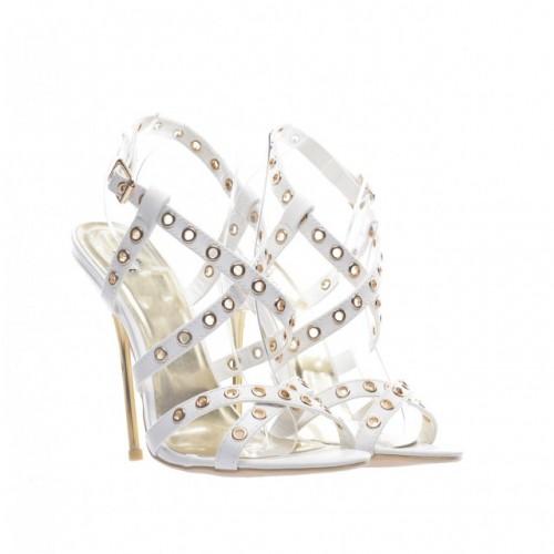 sandale cu toc albe