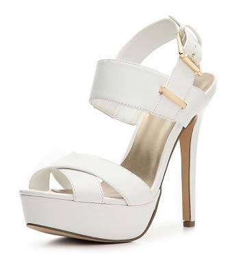 sandale cu toc cui si platforma albe guess