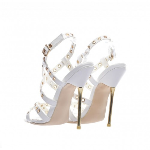 sandale cu toc metalic albe