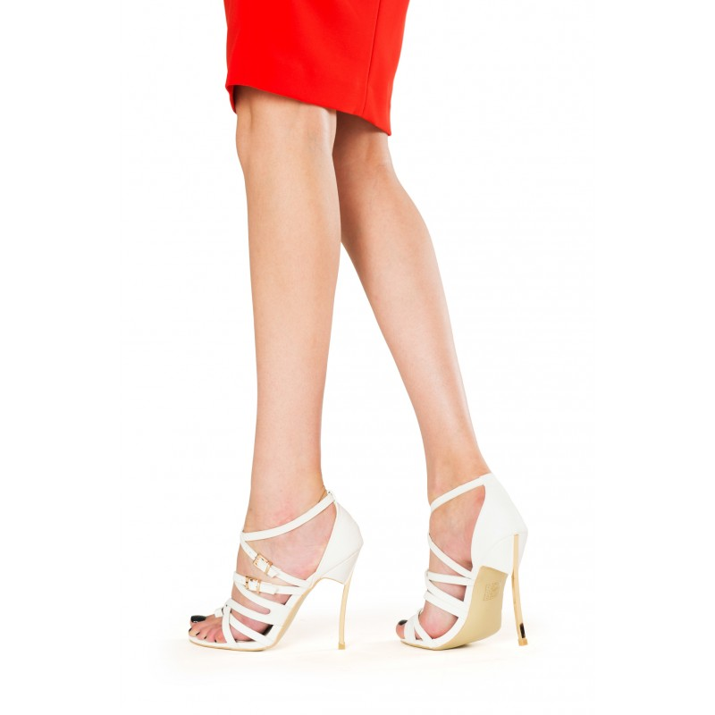 sandale cu toc metalic elegante albe
