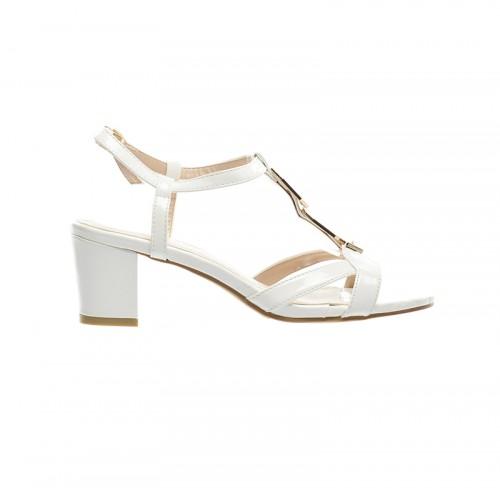 sandale cu toc patrat albe