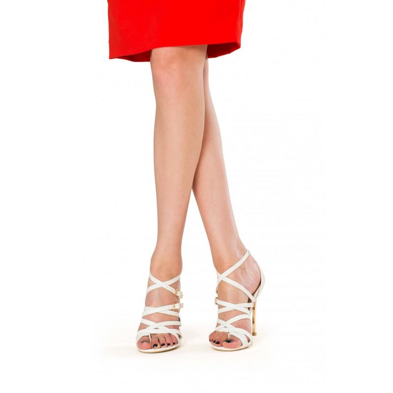 sandale elegante albe cu toc metalic