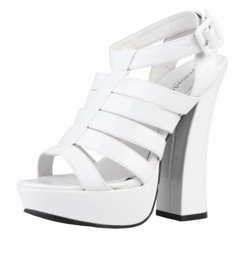 sandale ieftine cu toc si paltforma albe