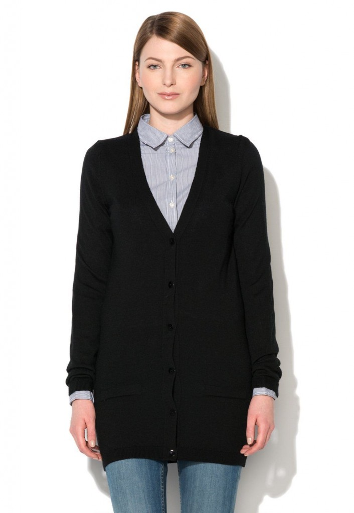 cardigan tricotat lung negru gros