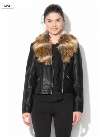jacheta din imitatie de piele biker cu guler din blana