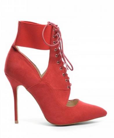 botine elegante cu siret rosii